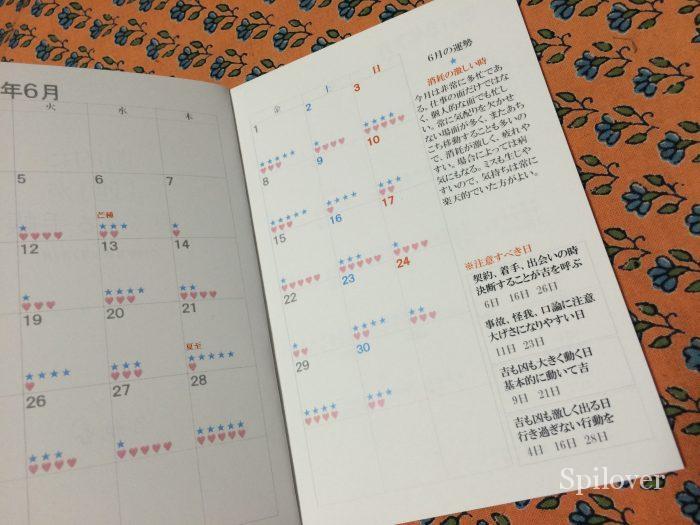 「劇的に運が良くなる手帳」カレンダー部分1
